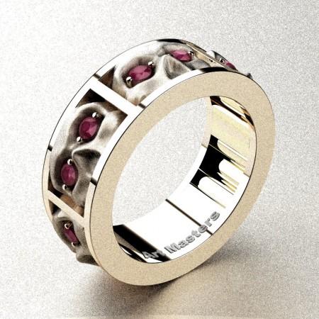 Revival-Gothic-14K-Rose-Gold-Rose-Ruby-Sandblast-Skull-Cluster-Wedding-Ring-R453-14KRGSRR-P