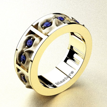 Revival-Gothic-14K-Yellow-Gold-Blue-Sapphire-Sandblast-Skull-Cluster-Wedding-Ring-R453-14KYGSBS-P