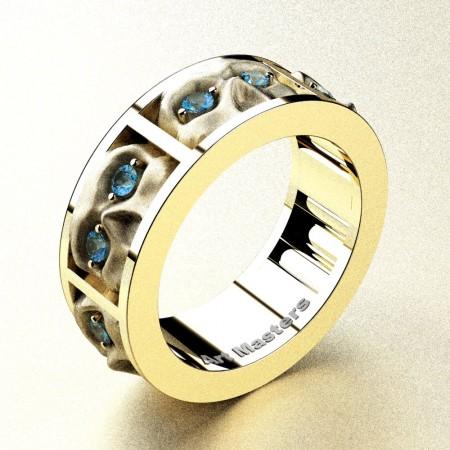Revival-Gothic-14K-Yellow-Gold-Blue-Topaz-Sandblast-Skull-Cluster-Wedding-Ring-R453-14KYGSBT-P