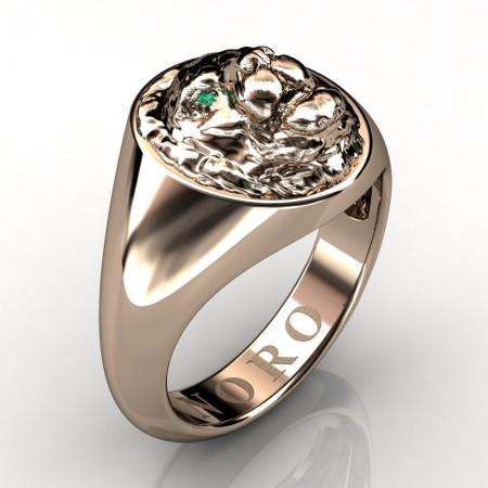 Victorian-Revival-14K-Gold-Emerald-Lion-Signet-Ring-R375-NORO-14KRGEM-P
