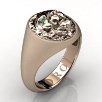 Modern Victorian 14K Matte Rose Gold Emerald Lion Signet Ring R375-14KRGMEM