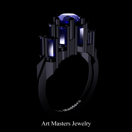 Avant-Garde-14K-Black-Gold-3-0-Carat-Blue-Sapphire-Engagement-Ring-R1130-14KBGBS