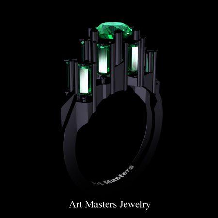 Avant-Garde-14K-Black-Gold-3-0-Carat-Emerald-Engagement-Ring-R1130-14KBGEM
