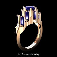 Avant Garde 14K Rose Gold 3.0 Ct Blue Sapphire Baguette Cluster Engagement Ring R1130-14KRGBS
