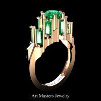 Avant Garde 14K Rose Gold 3.0 Ct Emerald Baguette Cluster Engagement Ring R1130-14KRGEM