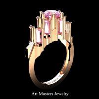 Avant Garde 14K Rose Gold 3.0 Ct Light Pink Sapphire Baguette Cluster Engagement Ring R1130-14KRGLPS