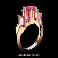 Gothic Revival 14K Rose Gold 3.0 Ct Pink Sapphire Baguette Cluster Engagement Ring R1130-14KRGPS