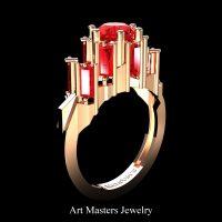Gothic Revival 14K Rose Gold 3.0 Ct Ruby Baguette Cluster Engagement Ring R1130-14KRGR