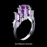 Gothic Revival 14K White Gold 3.0 Ct Amethyst Baguette Cluster Engagement Ring R1130-14KWGAM