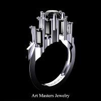 Avant Garde 14K White Gold 3.0 Ct Black Diamond Baguette Cluster Engagement Ring R1130-14KWGBD