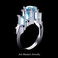 Avant Garde 14K White Gold 3.0 Ct Blue Diamond Baguette Cluster Engagement Ring R1130-14KWGBLD