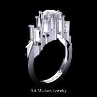 Avant Garde 14K White Gold 3.0 Ct White Sapphire Baguette Cluster Engagement Ring R1130-14KWGWS