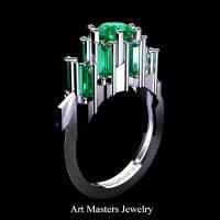 Avant Garde 14K White Gold 3.0 Ct Emerald Baguette Cluster Engagement Ring R1130-14KWGEM