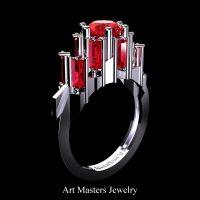 Gothic Revival 14K White Gold 3.0 Ct Ruby Baguette Cluster Engagement Ring R1130-14KWGR