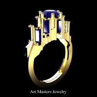Avant Garde 14K Yellow Gold 3.0 Ct Blue Sapphire Baguette Cluster Engagement Ring R1130-14KYGBS