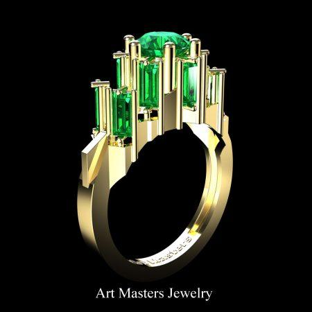 Avant-Garde-14K-Yellow-Gold-3-0-Carat-Emerald-Engagement-Ring-R1130-14KYGEM-2