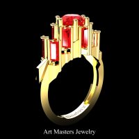 Gothic Revival 14K Yellow Gold 3.0 Ct Ruby Baguette Cluster Engagement Ring R1130-14KYGR