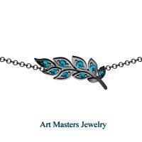 Classic 14K Black Gold Blue Diamond Laurel Leaf Necklace 16 Inch Chain P800-14KBGBLD