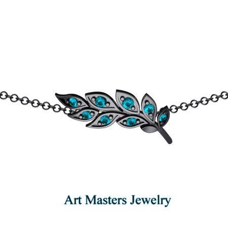 Classic-14K-Black-Gold-Blue-Diamond-Laurel-Leaf-Necklace-Pendant-P800-14KBGBLD-2