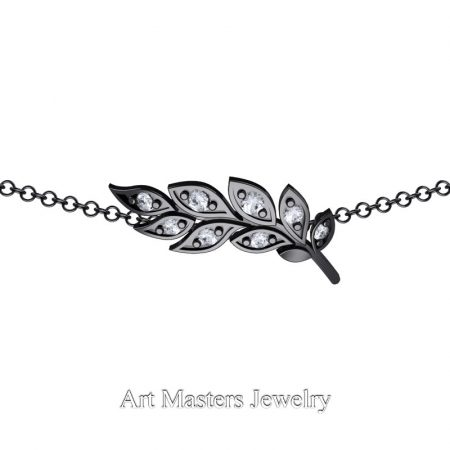 Classic-14K-Black-Gold-Diamond-Laurel-Leaf-Necklace-Pendant-P800-14KBGD