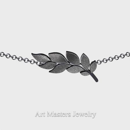Classic-14K-Black-Gold-Laurel-Leaf-Necklace-Pendant-P800-14KBG-3