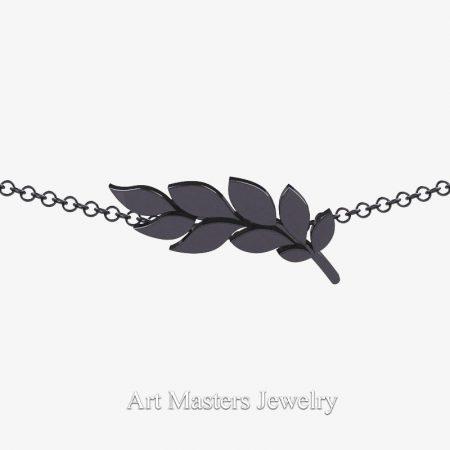 Classic-14K-Black-Gold-Laurel-Leaf-Necklace-Pendant-P800-14KBG-4