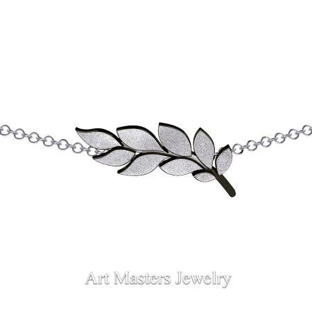 Classic-14K-Black-White-Gold-Laurel-Leaf-Necklace-Pendant-P800-14KBWGD