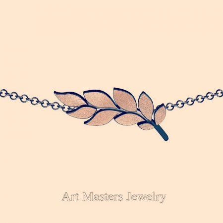 Classic-14K-Black-and-Rose-Gold-Laurel-Leaf-Necklace-Pendant-P800-14KBRG-2