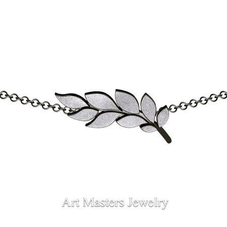 Classic-14K-Black-and-White-Gold-Laurel-Leaf-Necklace-Pendant-P800-14KBWG-3