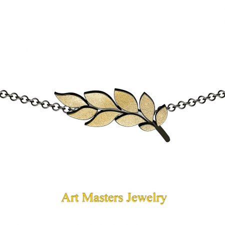 Classic-14K-Black-and-Yellow-Gold-Laurel-Leaf-Necklace-Pendant-P800-14KBYG-2