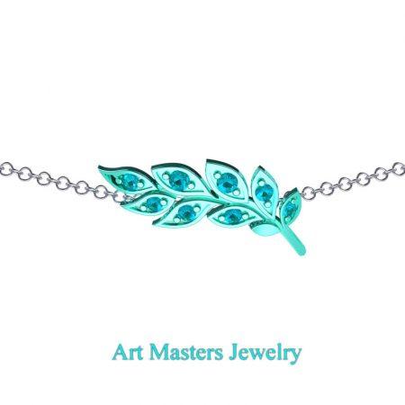 Classic-14K-Cyan-Gold-Blue-Diamond-Laurel-Leaf-Necklace-Pendant-P800-14KCGBLD-2
