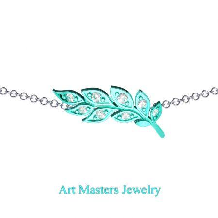 Classic-14K-Cyan-Gold-Diamond-Laurel-Leaf-Necklace-Pendant-P800-14KCGD