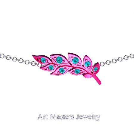 Classic-14K-Fuchsia-Gold-Blue-Diamond-Laurel-Leaf-Necklace-Pendant-P800-14KWSFGBLD