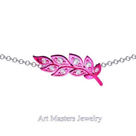 Classic-14K-Fuchsia-Gold-Diamond-Laurel-Leaf-Necklace-Pendant-P800-14KWSFGD