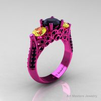 Classic 14K Pink Gold Three Stone Black Diamond Yellow Sapphire Solitaire Engagement Ring Wedding Ring R200-14KPGYSBD