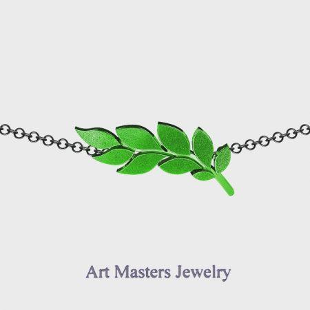 Classic-14K-Green-Black-Gold-Laurel-Leaf-Necklace-Pendant-P800-14KBSGG-Master