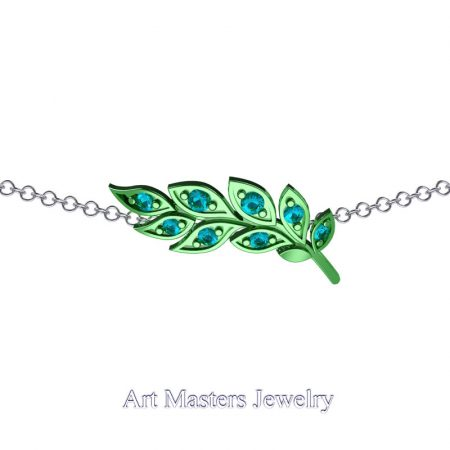 Classic-14K-Green-Gold-Blue-Diamond-Laurel-Leaf-Necklace-Pendant-P800-14KCGBLD-2