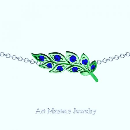 Classic-14K-Green-Gold-Blue-Sapphire-Laurel-Leaf-Necklace-Pendant-P800-14KGGBS-Master