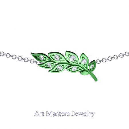 Classic-14K-Green-Gold-Diamond-Laurel-Leaf-Necklace-Pendant-P800-14KGGD