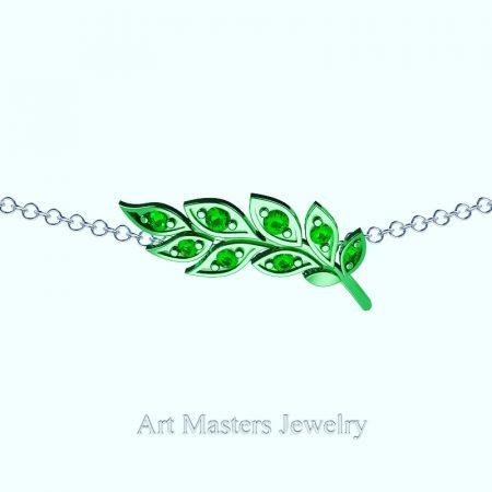 Classic-14K-Green-Gold-Emerald-Laurel-Leaf-Necklace-Pendant-P800-14KGGEM-Master