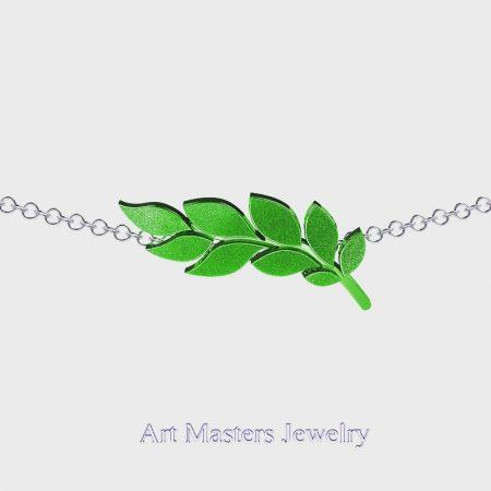 Classic-14K-Green-Gold-Laurel-Leaf-Necklace-Pendant-P800-14KWGG-Master