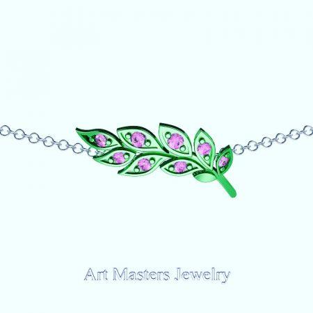 Classic-14K-Green-Gold-Light-Pink-Sapphire-Laurel-Leaf-Necklace-Pendant-P800-14KGGLPS-Master