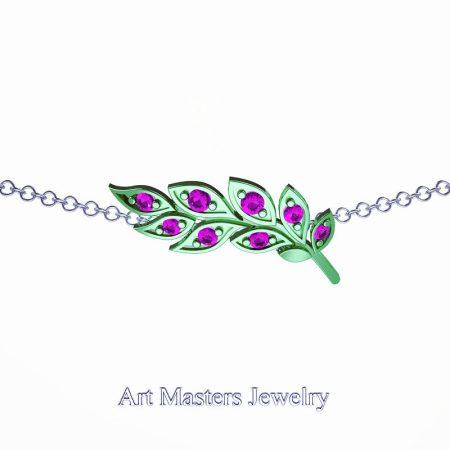 Classic-14K-Green-Gold-Pink-Sapphire-Laurel-Leaf-Necklace-Pendant-P800-14KGGPS-Master