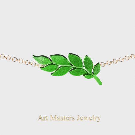 Classic-14K-Green-Rose-Gold-Laurel-Leaf-Necklace-Pendant-P800-14KRSGG-Master