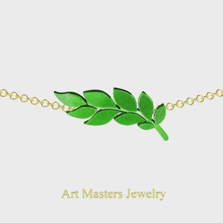 Classic-14K-Green-Yellow-Gold-Laurel-Leaf-Necklace-Pendant-P800-14KYSGG-Master