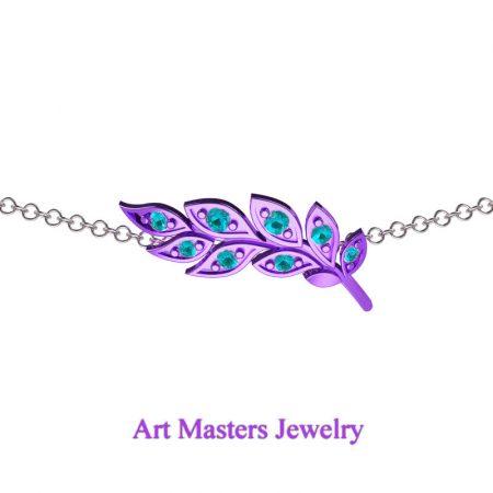 Classic-14K-Lilac-Gold-Blue-Diamond-Laurel-Leaf-Necklace-Pendant-P800-14KWSLGBLD