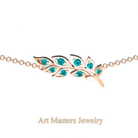Classic-14K-Rose-Gold-Blue-Diamond-Laurel-Leaf-Necklace-Pendant-P800-14KRGBLD-2