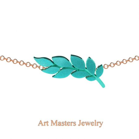 Classic-14K-Rose-Turquoise-Gold-Laurel-Leaf-Necklace-Pendant-P800-14KRCG