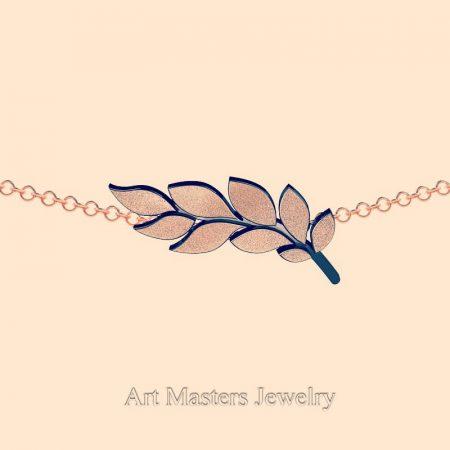 Classic-14K-Rrose-Black-Gold-Laurel-Leaf-Necklace-Pendant-P800-14KBSRG