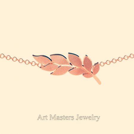 Classic-14K-Rrose-Gold-Laurel-Leaf-Necklace-Pendant-P800-14KSRG-2